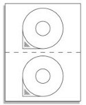 CD Labels - 2 UP Laser / Ink Label Sheets - 2 Labels per Sheet / 1000 Sheets