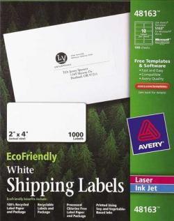 Avery� 48163 - 10 UP EcoFriendly Shipping Labels - Pack of 1000