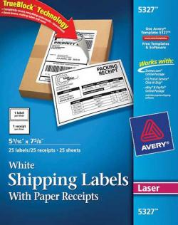 [Clearance] Avery� 5327 - White Shipping Labels with Paper Receipts for Laser Printers - Pack of 25