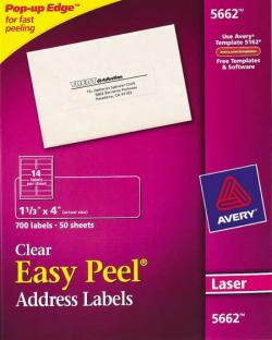 Avery 5662 - 14 UP CLEAR Address Labels - Pack of 700