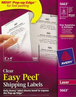 Avery� 5663 - 10 UP CLEAR Shipping Labels - Pack of 500