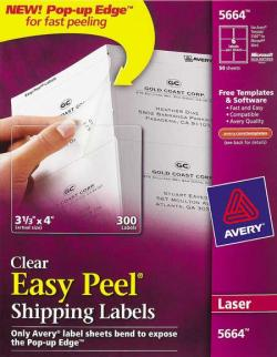 Avery� 5664 - 6 UP CLEAR Shipping Labels - Pack of 300
